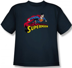 Image for Superman Youth T-Shirt - Flying Over Logo Distressed