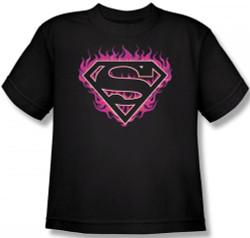Image Closeup for Superman T-Shirt - Fuchsia Flames Shield Logo