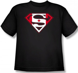 Image for Superman Youth T-Shirt - Canadian Flag Shield