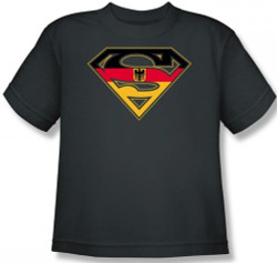 Image for Superman Youth T-Shirt - German Flag Shield
