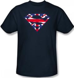 Image Closeup for Superman T-Shirt - Great Britain Flag Shield