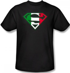 Image Closeup for Superman T-Shirt - Italian Flag Shield