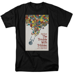 Image for Star Trek Juan Ortiz Episode Poster T-Shirt - Ep. 44 the Trouble With Tribbles on Black