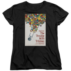 Image for Star Trek Juan Ortiz Episode Poster Womans T-Shirt - Ep. 44 the Trouble With Tribbles on Black