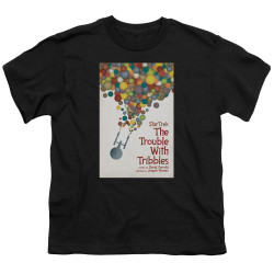 Image for Star Trek Juan Ortiz Episode Poster Youth T-Shirt - Ep. 44 the Trouble With Tribbles on Black