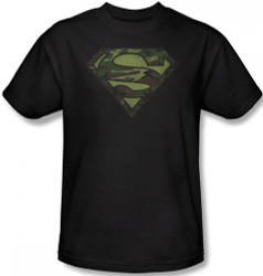 Image Closeup for Superman T-Shirt - Camo Distressed Logo