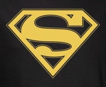 superman t shirt gold black shield logo nerdkungfu