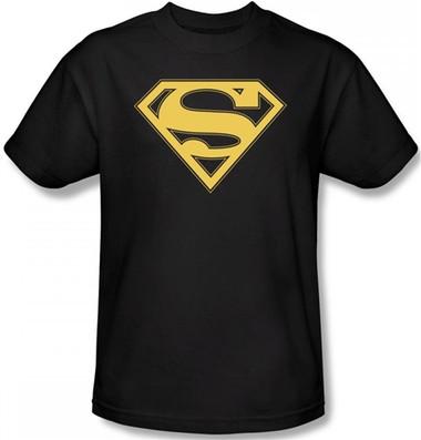 87340fa6 Superman T-Shirt - Gold & Black Shield Logo - NerdKungFu