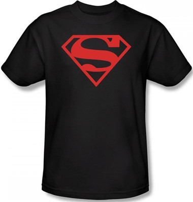 0dff1bc2 Superman T-Shirt - Red on Black Shield Logo - NerdKungFu
