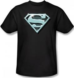 Image Closeup for Superman T-Shirt - Chrome Shield Logo
