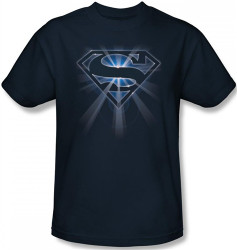 Image Closeup for Superman T-Shirt - Glowing Shield Logo