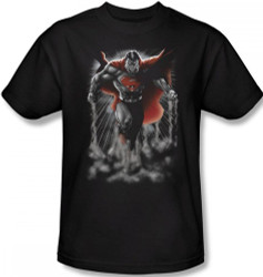 Image Closeup for Superman T-Shirt - Above the Clouds