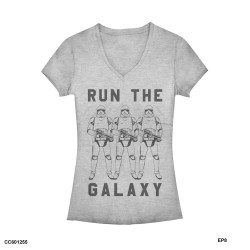 Image for Star Wars Episode 8 the Last Jedi Girls Heather V Neck - Trooper Galaxy