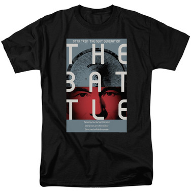 Image for Star Trek the Next Generation Juan Ortiz Episode Poster T-Shirt - Season 1 Ep. 9 the Battle on Black