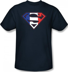 Image Closeup for Superman T-Shirt - French Flag Shield