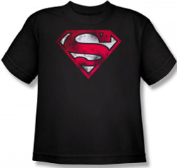 Image for Superman Youth T-Shirt - War Torn Shield Logo