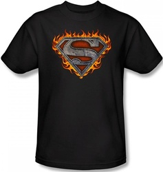 Image Closeup for Superman T-Shirt - Iron Fire Shield Logo