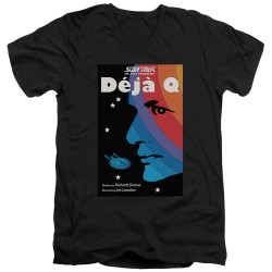 Image for Star Trek the Next Generation Juan Ortiz Episode Poster V Neck T-Shirt - Season 3 Ep. 13 Deja Q on Black