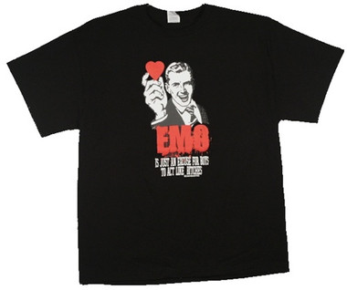 dae1ac64 Emo is just an excuse for boys to act like bitches T-Shirt - NerdKungFu