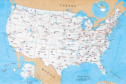 Image for Map of USA Poster - Road Map