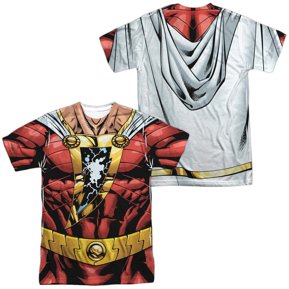 b4ae8c7e2 Shazam T-Shirt - Sublimated JLA Shazam Uniform - NerdKungFu