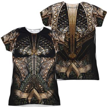 Image for Aquaman Girls T-Shirt - Sublimated JLA Movie Uniform