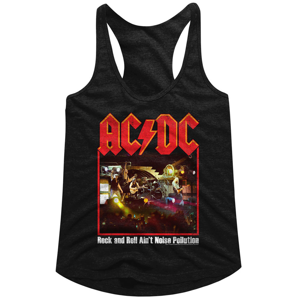 a2b93d29f34 Hover over image to zoom. Image for AC DC Classic Rock and Roll Ain t Noise  Pollution Juniors Racerback