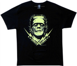 Image Closeup for Frankenstein Lightning Bolts T-Shirt