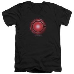 Image for Justice League Movie V Neck T-Shirt - Cyborg Logo