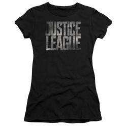 Image for Justice League Movie Juniors Premium Bella T-Shirt - Metal Logo