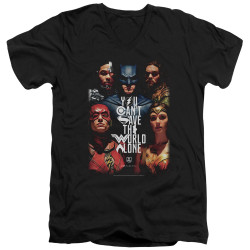 Image for Justice League Movie V Neck T-Shirt - Save the World
