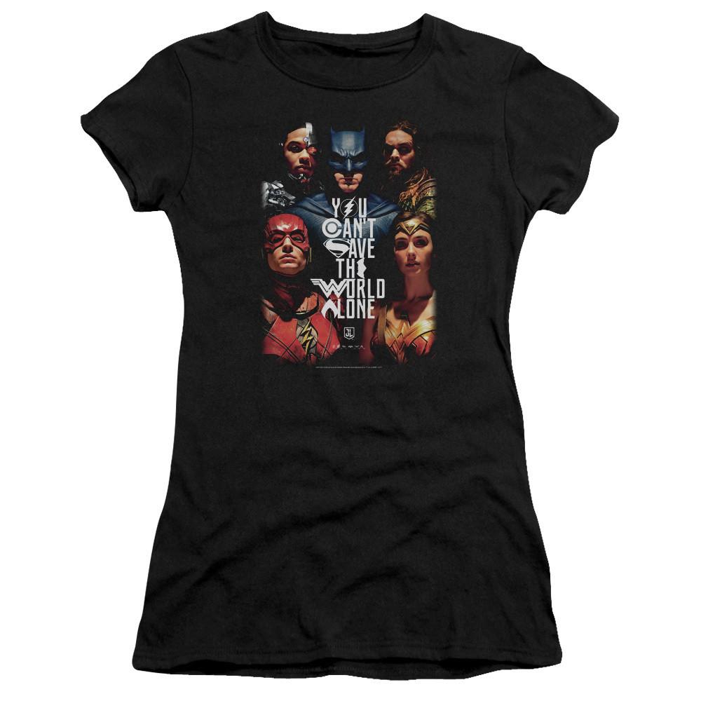 88fd402cf95886 Justice League Movie Girls T-Shirt - Save the World - NerdKungFu