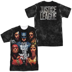 Image for Justice League Movie Sublimated T-Shirt - Save the World Poster 100% Polyester