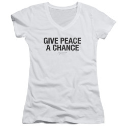 Image for John Lennon Girls V Neck - Give Peace a Chance