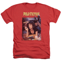 Image for Pulp Fiction Heather T-Shirt - Classic Poster on Red