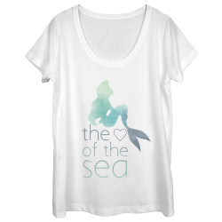 Image for The Little Mermaid Juniors Scoop Neck Heather Shirt - The Heart of the Sea