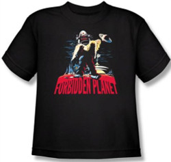Image for Forbidden Planet Robby and Woman Youth T-Shirt
