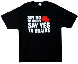 Image Closeup for Zombie T-Shirt - Say No to Drugs Yes to Brains