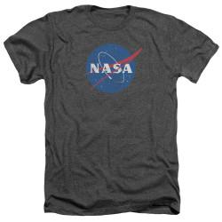 Image for NASA Heather T-Shirt - Meatball Logo Distressed