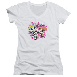Image for The Powerpuff Girls Girls V Neck - Team Awesome