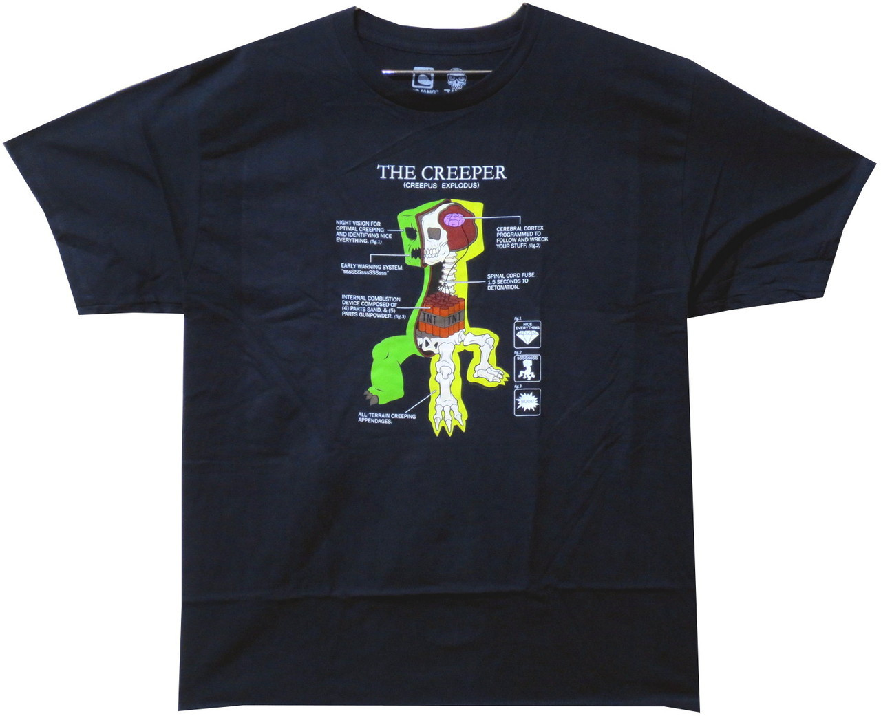 Minecraft Youth T Shirt Creeper Anatomy Nerdkungfu