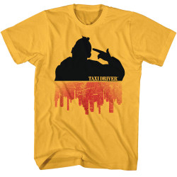 Image for Taxi Driver T-Shirt - Silhouette Over City