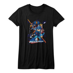 Image for Mega Man Girls T-Shirt - Collage Orange Beam