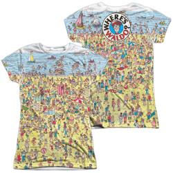 Image for Where's Waldo Girls Sublimated T-Shirt - Beach Scene
