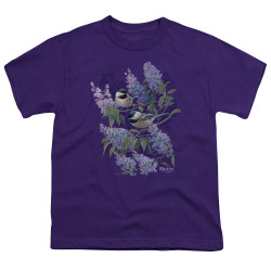 Image for Wild Wings Collection Youth T-Shirt - Chickadees and Lilacs