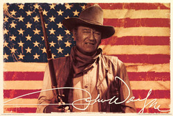 Image for John Wayne Poster - American Flag