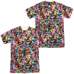 Image for Mighty Morphin Power Rangers Sublimated T-Shirt - Crowd of Rangers 100% Polyester