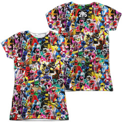 Image for Mighty Morphin Power Rangers Girls Sublimated T-Shirt - Crowd of Rangers