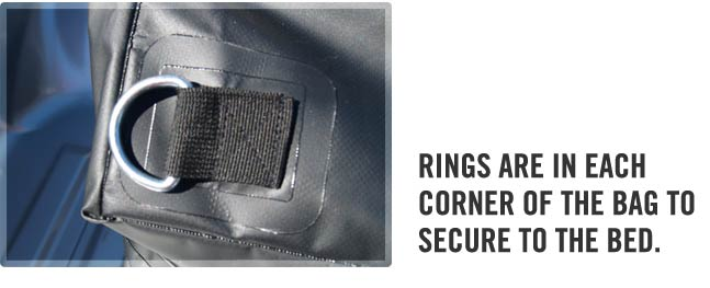 Heavy duty corner rings to strap down the Tuff Truck Bag
