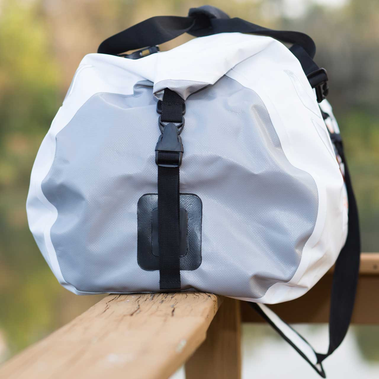 Side view of the waterproof white Tuff Tote Dry Bag